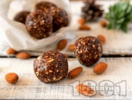 Рецепта Здравословни, лесни и бързи бонбони топчета с фурми и бадеми
